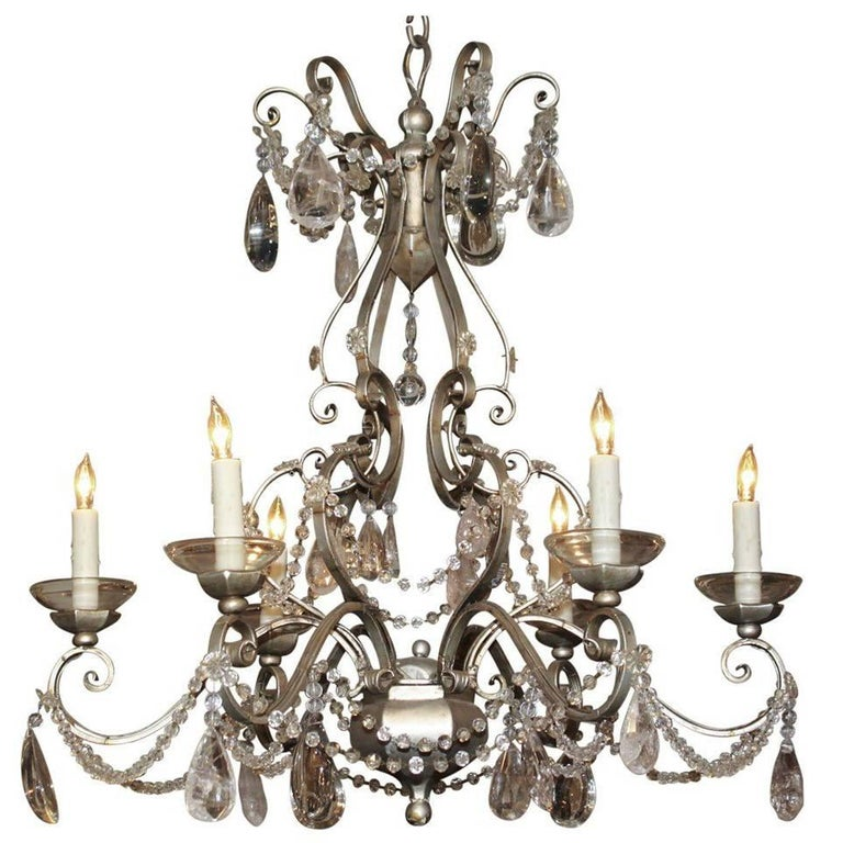 Italian Tole, Iron and Rock Crystal Chandelier