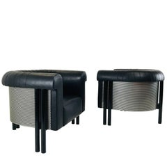 Pair of Black Leather Lounge Armchairs by De Sede