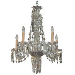 English Waterford Style Crystal Chandelier, circa 1890