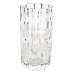 Swedish Mid-Century Modern Translucent Handblown Rippled Glass Vase by Orrefors