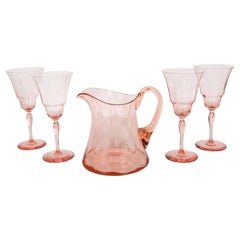 American Art Deco Channeled Rose Colored Pitcher and Glasses Set