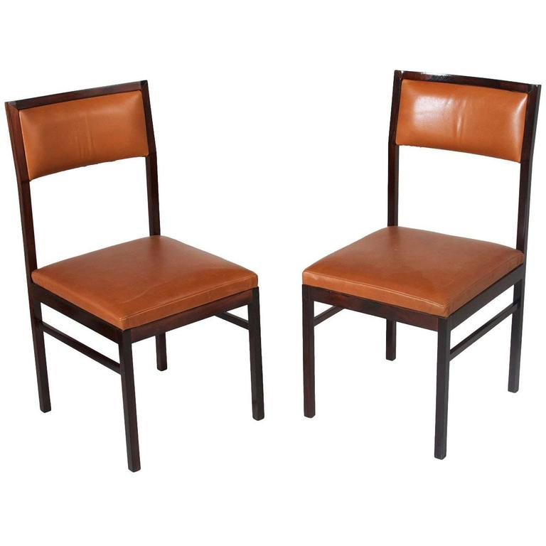 Organic Modern Brazilian Rosewood and Leather Side Chairs by Celina