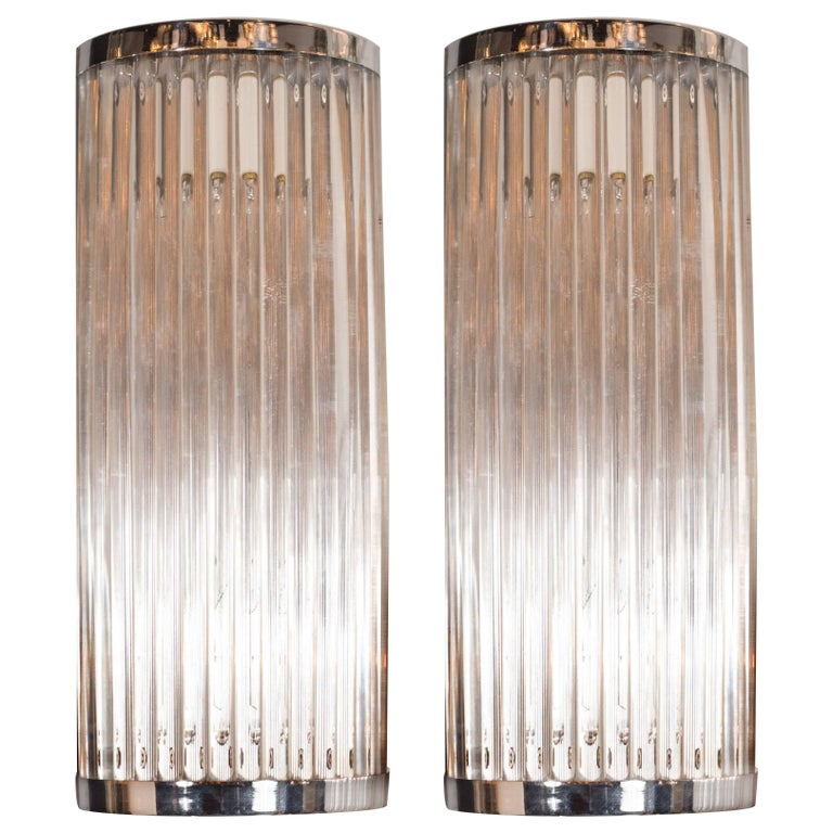 Pair of Streamlined Art Deco Revival Chrome Wall Sconces with Translucent Rods