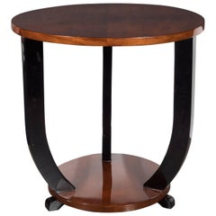 French Art Deco Two-Tiered Bookmatched Walnut & Black Lacquer Gueridon Table