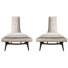 Pair of High Back Lounge Chairs in Smoked Platinum Velvet by Karpen