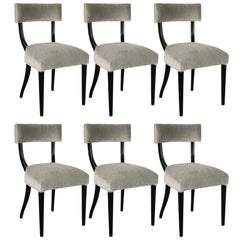 Set of Six Mid-Century Modern Klismos Form Dining Chairs in Ebonized Walnut