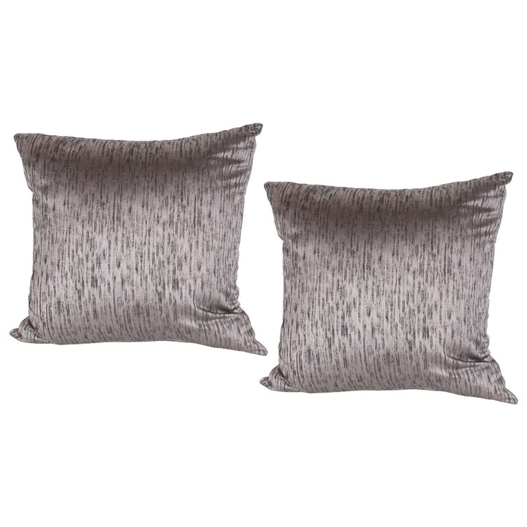 Pair of Modernist Pillows in Iridescent Lavender with Organic Black Patternation