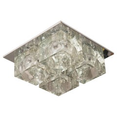 Mid-Century Modernist Glass Cube Flush Mount Chandelier by Sciolari in Chrome