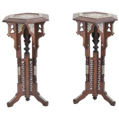 Pair of Moroccan Carved Inlaid Pedestals