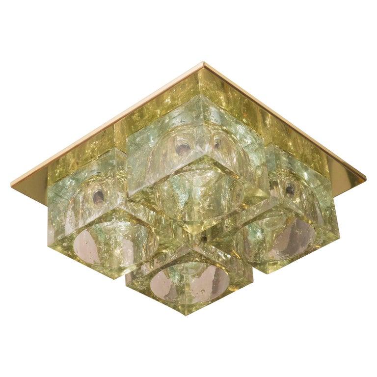 Mid-Century Modern Brass and Translucent Glass Cube Flush Mount by Sciolari