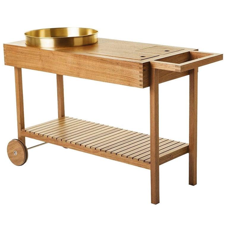 Contemporary Hardwood Tea Cart