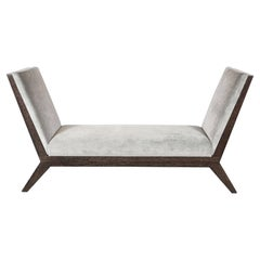 Silver Cerused Oak Bench Designed by Noel Jeffrey in Smoked Platinum Velvet