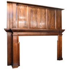 Oversized Ornate Burled Walnut Mantel