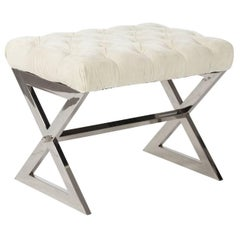 Chrome Bench with Velvet Tufted Seat
