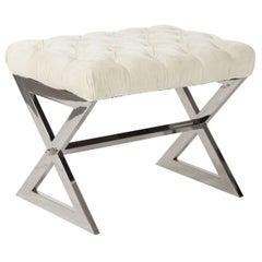 Chrome Bench with Velvet Tufted Seat