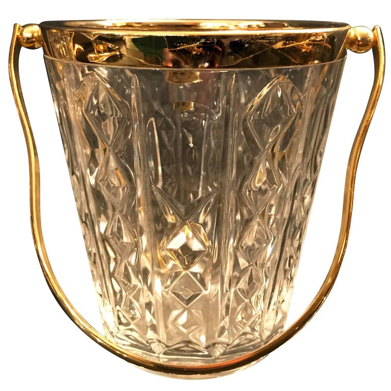 Val St Lambert Crystal Ice Bucket with Gold Leaf