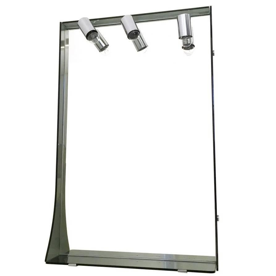 Smoked Glass and Chrome-Plated Wall Mirror by Veca, Italy, 1970s