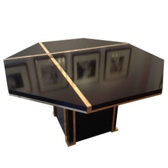 Lacquered and Brass Dining Table JC Mahey, 1970s