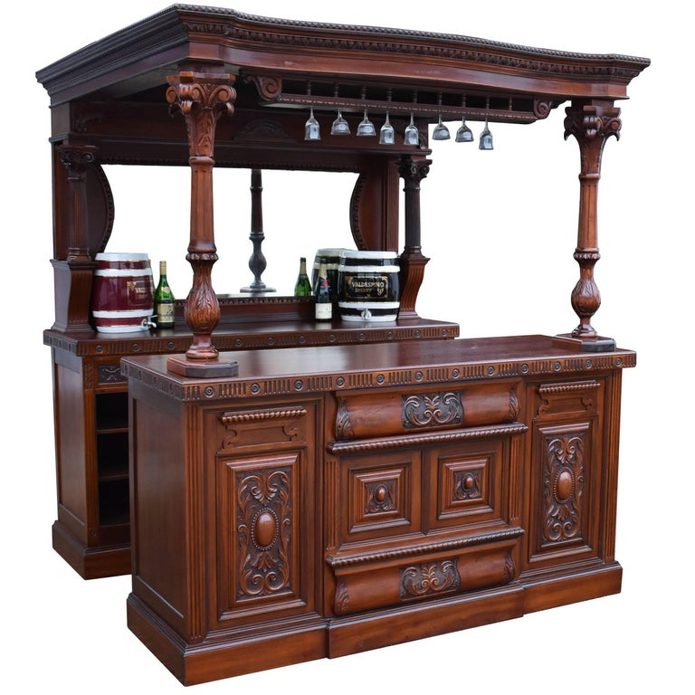 19th Century Victorian English Made Carved Mahogany Front and Back Bar