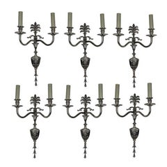 Set of Six Edwardian Silver Plated Wall Sconces