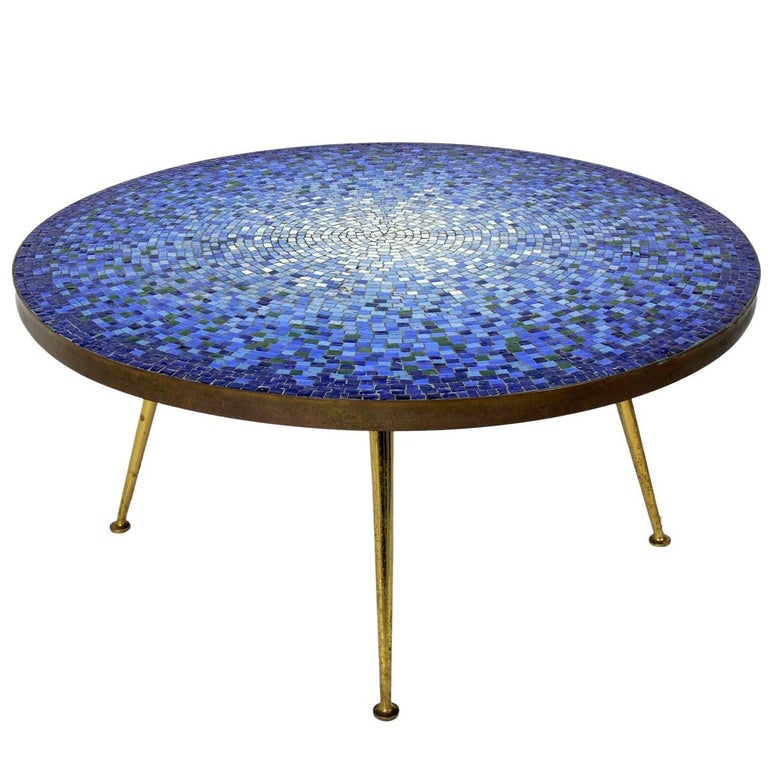 Italian Glass Coffee Table.Italian Glass Mosaic Tile Coffee Table