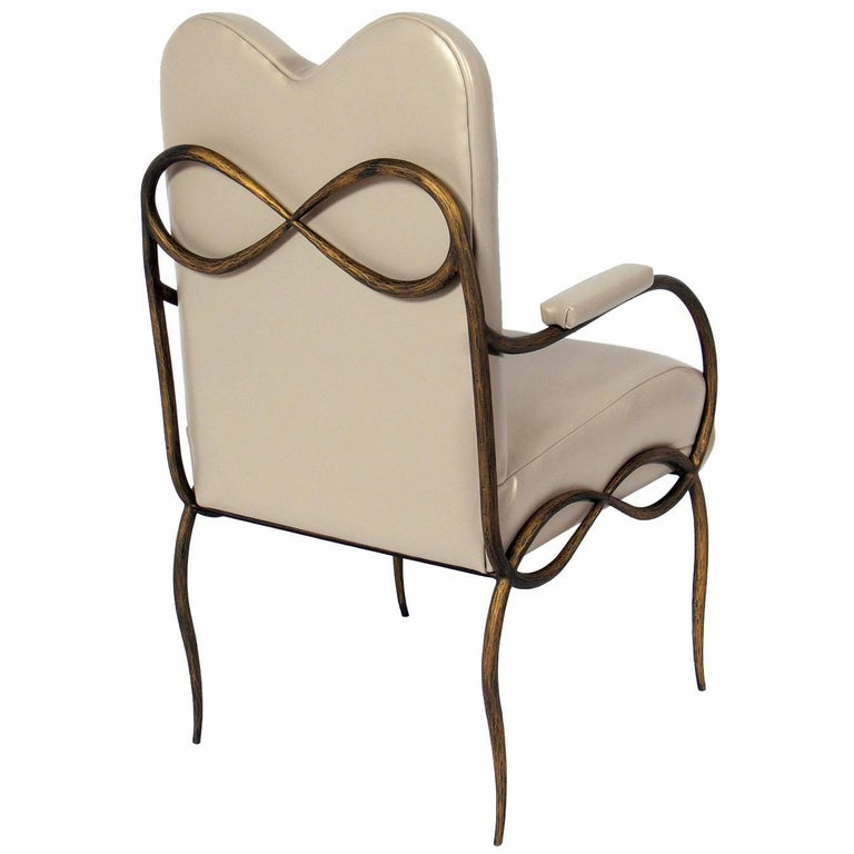 Gilt Iron and Leather Chair after René Drouet