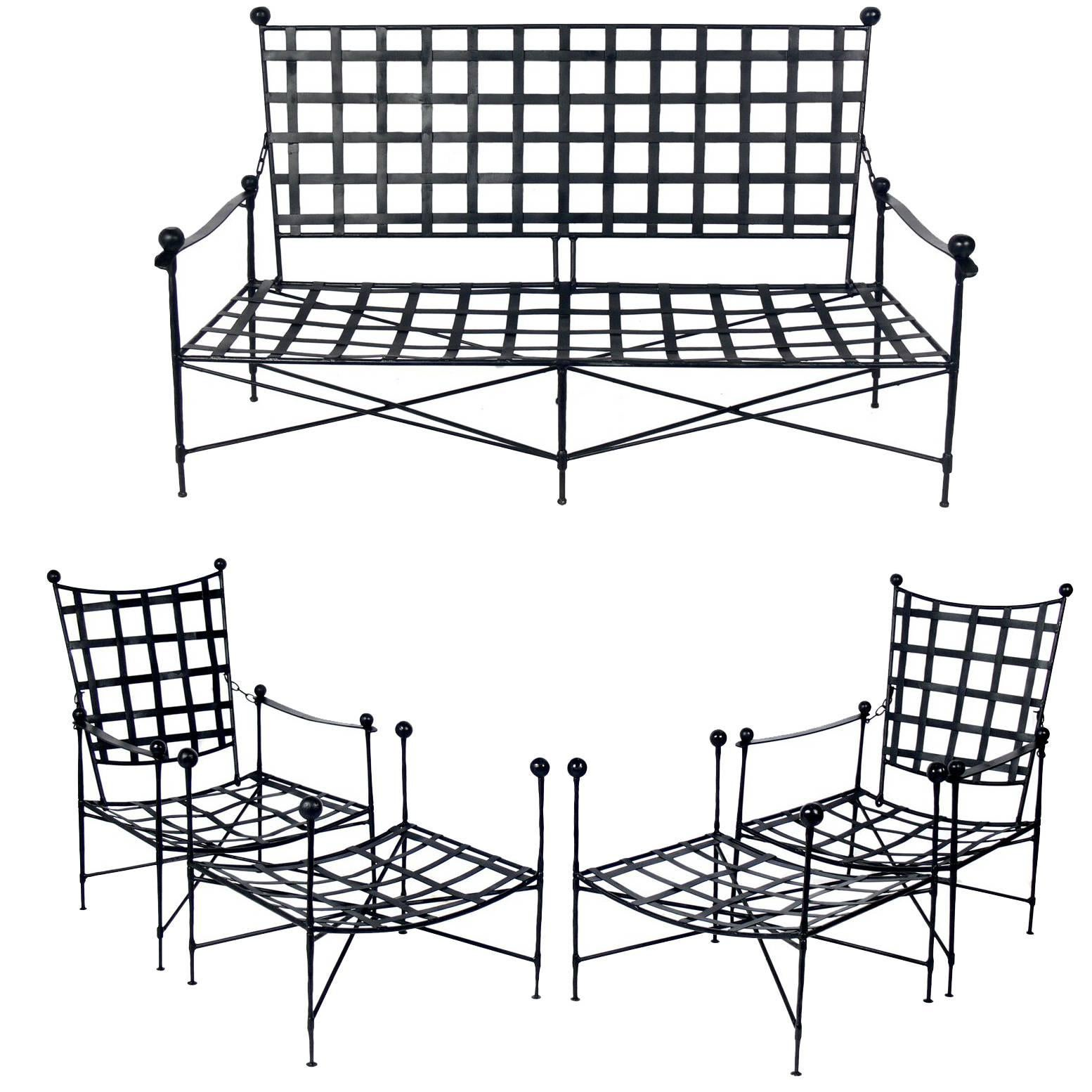 Sculptural Iron Patio Set Designed By Mario Papperzini For Salterini