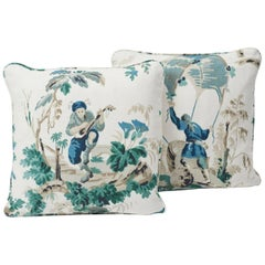 Schumacher Plaisirs De La Chine Emerald Green Two-Sided Pillows, Pair