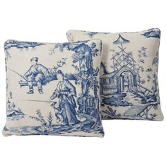 "Schumacher Shengyou Toile Jean-Baptiste Pillement Two-Sided 18"" Pillows, Pair"