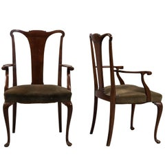 Pair of Mahogany Chippendale Style Armchair, circa 1860
