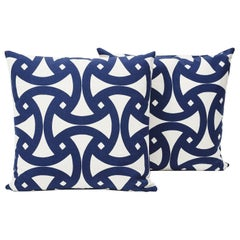 "Schumacher Santorini Indoor/Outdoor Marine Blue Two-Sided 18"" Pillows, Pair"
