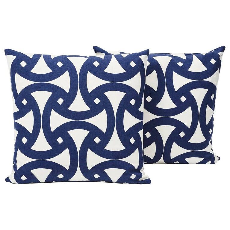 Schumacher Santorini-print pillows, 21st century