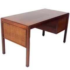 Clean Lined Midcentury Caned Desk