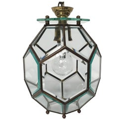 Mid-Century Modern Chandelier in Brass and Glass by Fontana Arte