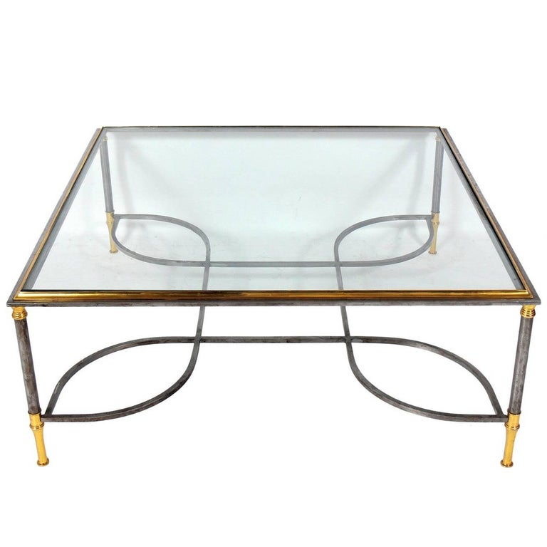 Elegant Brass and Steel Coffee Table