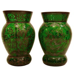 Pair of Green Glass Vases with Silver Inlay