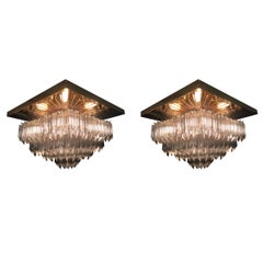 Pair of Venini Crystal Chandeliers on Gold-Plated Frames