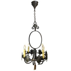 Iron Four-Candle Chandelier with Shields