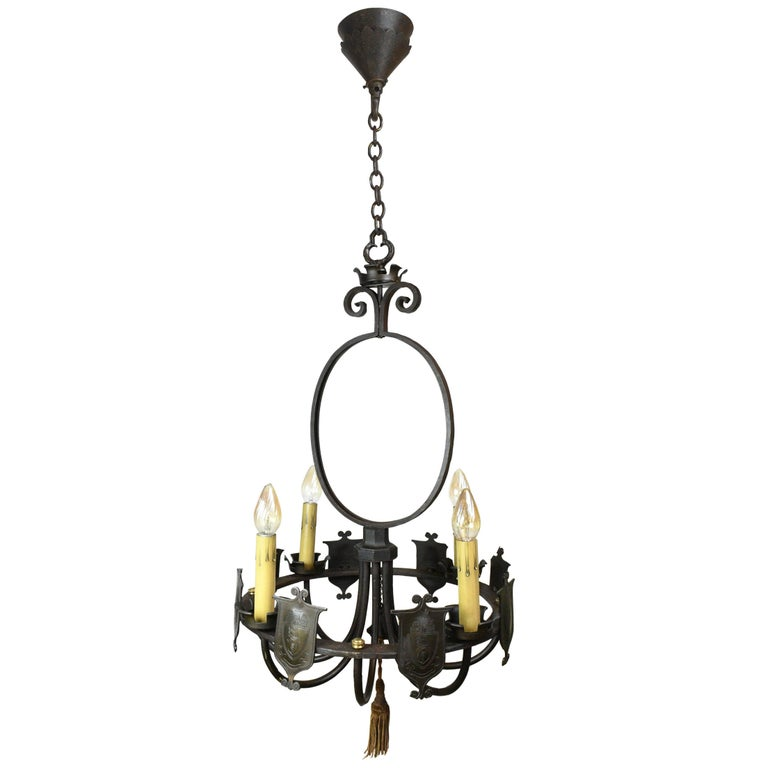 Iron Four Candle Ring Chandelier with Shields For Sale