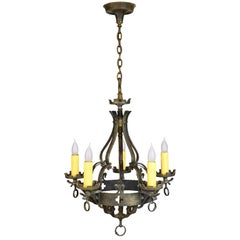 Bronze Five-Candle Tudor Chandelier