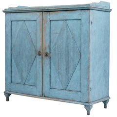 19th Century Swedish Carved Painted Pine Cupboard