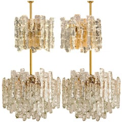 Set of Four Kalmar Ice Glass Light Fixtures, Two Wall Scones and Two Chandeliers
