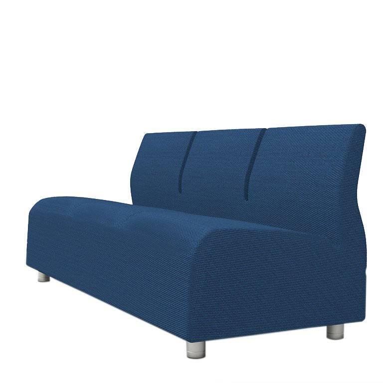 Three Seater Conversation Upholstered Blue Sofa Satyendra