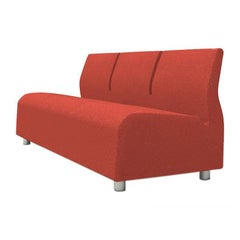 Contemporary Upholstered Three-Seat Sofa Red Fabric Conversation