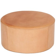 Danish Pouf in Natural Leather by Ivan Schlechter