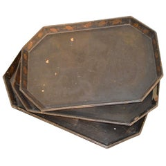 19th Century Set of Three Chinese Lacquer Trays