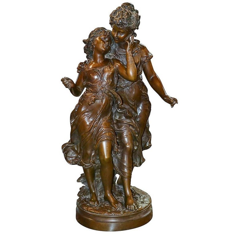 Antique French Bronze Sculpture of Two Sisters, Signed Moreau, circa 1880
