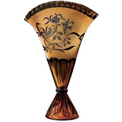Crystal Fan Vase in Amber and Blue