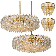 Set of Four Bakalowits Light Fixtures, Brass and Crystal Glass, Austria, 1960s