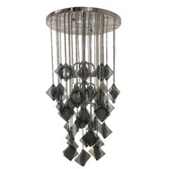 Large Italian Molded Glass Light Fixture